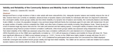 Publication on the validity of the CB&M Scale